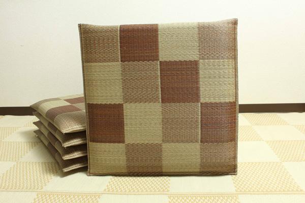 純国産 織込千鳥 い草座布団 『ブロック 5枚組』 ブラウン 約55×55cm×5P【ブラウン】