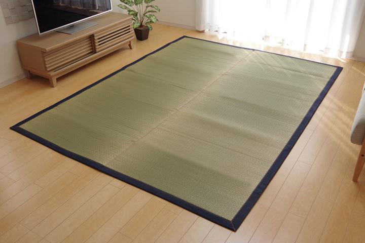 純国産 い草ラグカーペット 『F)MUKU』 約191×191cm(デニム)