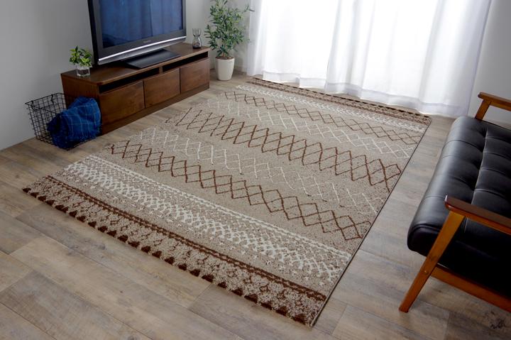 トルコ製 ウィルトン織カーペット 北欧調ラグ ブラウン 約160×230cm【ブラウン】