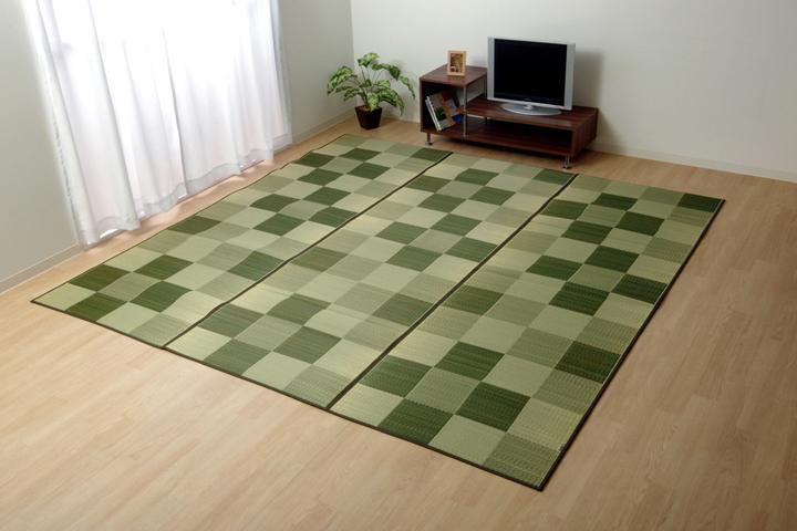 純国産 い草花ござカーペット 『ブロック』 グリーン 江戸間10畳(約435×352cm)【グリーン】