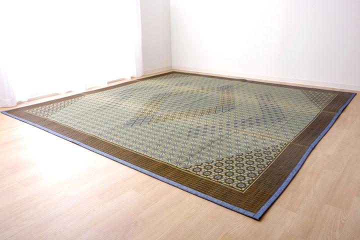 い草ラグ 国産 ラグ カーペット 約2畳 正方形 『DX組子』 グレー 約191×191cm (裏:不織布)【グレー】