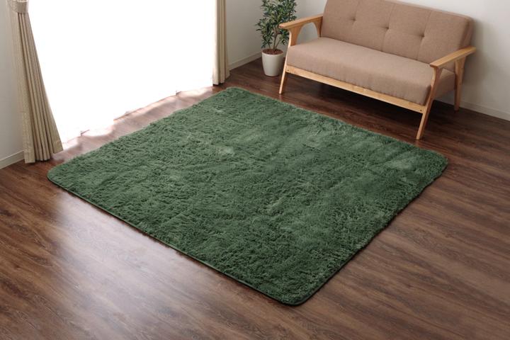 ラグ カーペット 4畳 シャギー 無地 北欧 マイクロファイバー 『ミスティ―IT』 グリーン 約200×300cm (ホットカーペット対応)【グリーン】