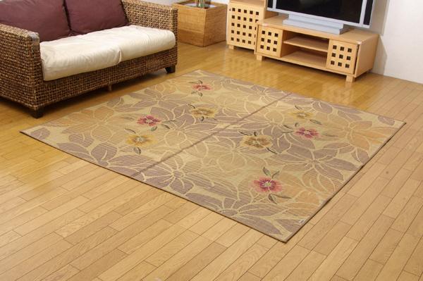 純国産 袋織い草ラグカーペット 『なでしこ』 ベージュ 約191×191cm【ベージュ】