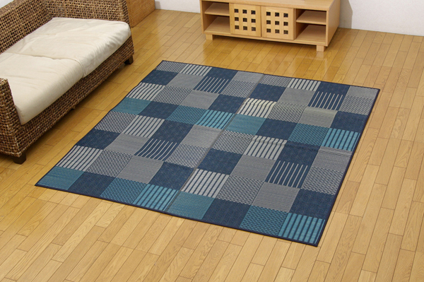 純国産 い草花ござカーペット 『京刺子』 ブルー 本間2畳(約191×191cm)【ブルー】