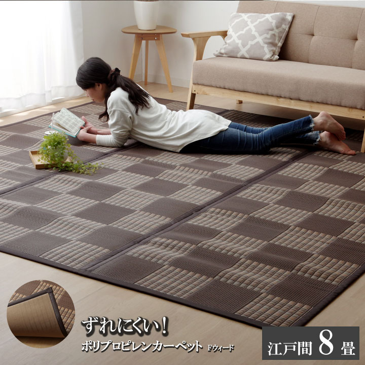 ラグ PPカーペット 『Fウィード』 ブラウン 江戸間8畳(約348×352cm)【ブラウン】