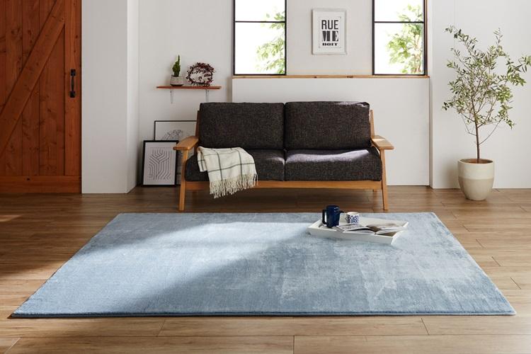 洗える柔らか フランネルクッションラグ 190×240cm(約3帖)【ブルー】