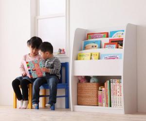 シンプルデザイン キッズ収納家具シリーズ CREA クレア 棚付絵本ラック