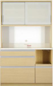 開梱サービスなし 大型レンジ対応 清潔感のある印象が特徴のキッチンボード Ethica エチカ キッチンボード 幅120 高さ193