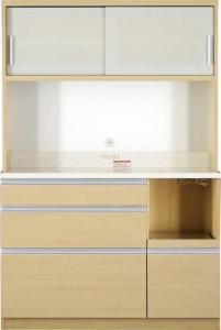 開梱サービスなし 大型レンジ対応 清潔感のある印象が特徴のキッチンボード Ethica エチカ キッチンボード 幅120 高さ178
