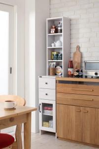 キッチンでも洗面所でも使える木目調すきま収納ラック Apol アポル 幅30【代引不可】