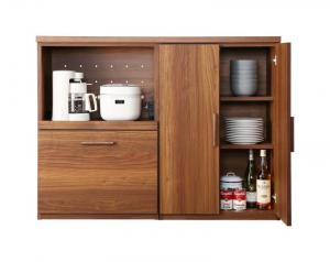 日本製完成品 天然木調ワイドキッチンカウンター Walkit ウォルキット レンジ台+食器棚 120cm