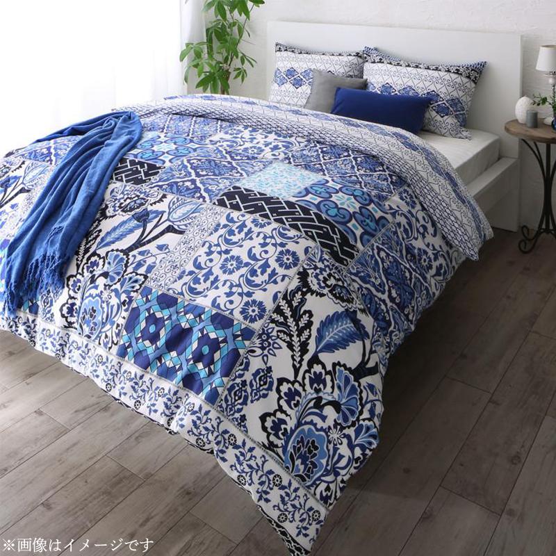 日本製・綿100% 地中海リゾートデザインカバーリング nouvell ヌヴェル 布団カバーセット ベッド用 50×70用 クイーン4点セット