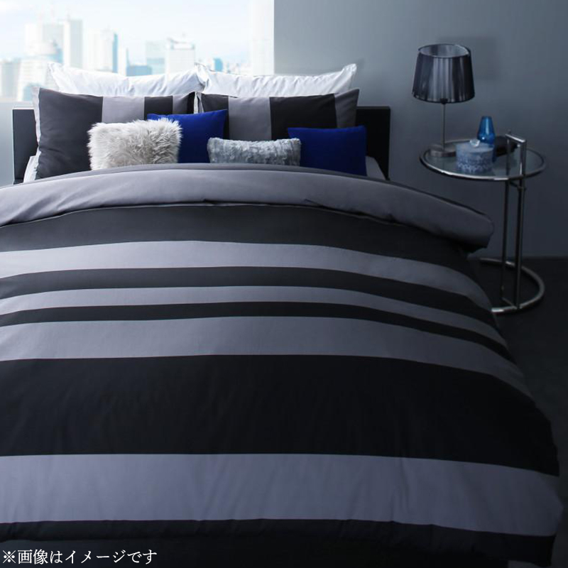 日本製・綿100% アーバンモダンボーダーデザインカバーリング tack タック 布団カバーセット 和式用 50×70用 シングル3点セット