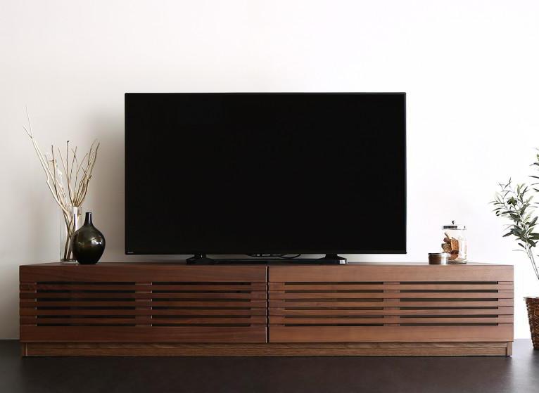 完成品天然木 ルーバーデザインテレビボード Suare スアレ 幅180cm 奥行47.5cm【代引不可】