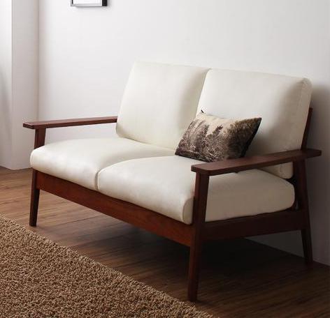 天然木シンプルデザイン木肘ソファ MUKU-褐色 ムク・ブラウン 2P