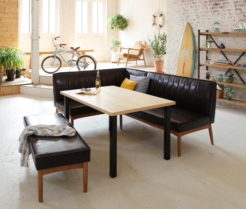 西海岸テイスト モダンデザインリビングダイニングセット DIEGO ディエゴ 4点セット(テーブル+ソファ1脚+アームソファ1脚+ベンチ1脚) 左アーム W120