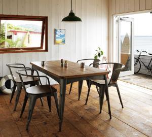 西海岸ヴィンテージデザインダイニング家具シリーズ Ricordo リコルド 5点セット(テーブル+チェア4脚) ラウンドフレームチェア W150