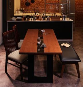 モダンデザインダイニング Bistro M ビストロ エム 4点セット(テーブル+チェア2脚+ベンチ1脚) W150【代引不可】