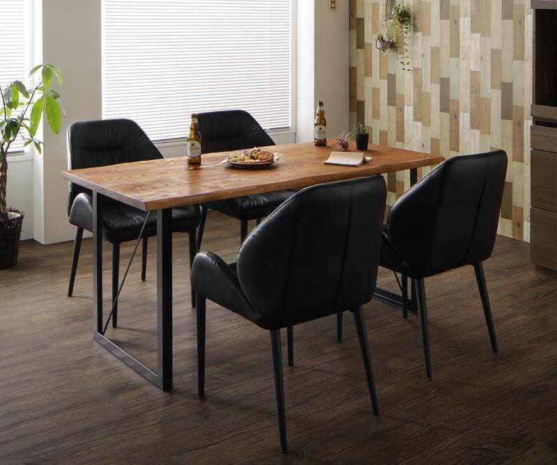 アメリカンオーク無垢材ヴィンテージデザインダイニング Pittsburgh ピッツバーグ 5点セット(テーブル+チェア4脚) W150【代引不可】