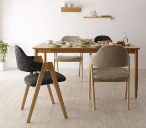 天然木 北欧ナチュラルデザイン ダイニング Tiffin ティフィン 5点セット(テーブル+チェア4脚) W150