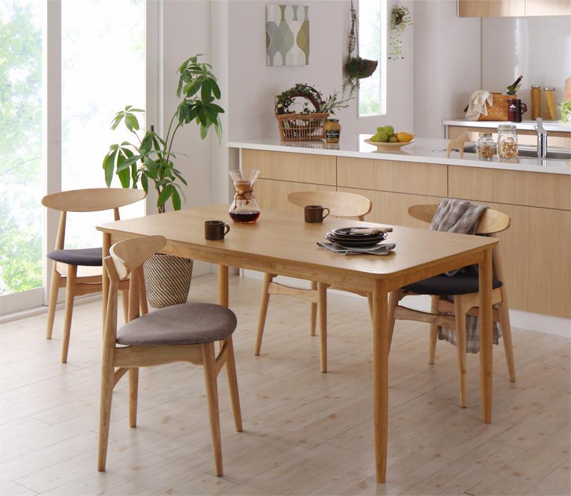 天然木オーク材 北欧デザイン ダイニングセット Sonatine ソナチネ 5点セット(テーブル+チェア4脚) W150