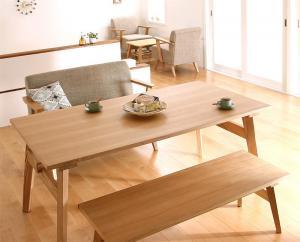 天然木北欧スタイル ソファダイニング Milka ミルカ 3点セット(テーブル+2Pソファ1脚+ベンチ1脚) W160