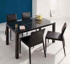 イタリアンモダンデザイン クロスステッチレザーガラスダイニング VALLONE ヴァローネ 5点セット(テーブル+チェア4脚) W135