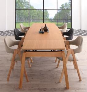 天然木オーク材 スライド伸縮式ダイニングセット MALIA マリア 7点セット(テーブル+チェア6脚) W140-240