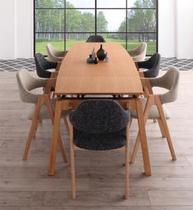 天然木オーク材 スライド伸縮式ダイニングセット MALIA マリア 9点セット(テーブル+チェア8脚) W140-240