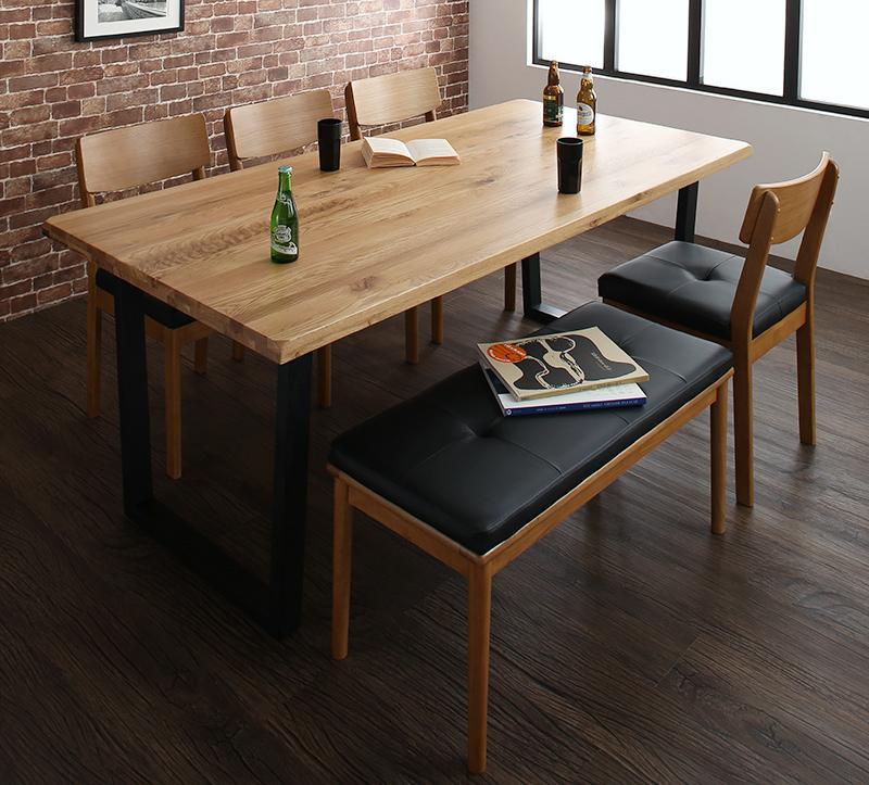 オーク無垢材ヴィンテージデザインワイドサイズダイニング Lepus レプス 6点セット(テーブル+チェア4脚+ベンチ1脚) W180【代引不可】