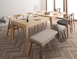 北欧デザイン スライド伸縮テーブル ダイニングセット SORA ソラ 8点セット(テーブル+チェア6脚+ベンチ1脚) W135-235