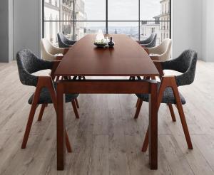 北欧テイスト 天然木ウォールナット材 伸縮ダイニングセット KANA カナ 7点セット(テーブル+チェア6脚) W140-240