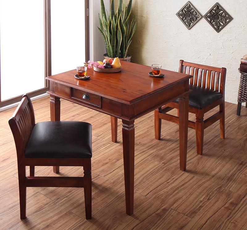 天然木マホガニー材アンティーク調アジアンダイニングシリーズ RADOM ラドム 3点セット(テーブル+チェア2脚) W80【代引不可】