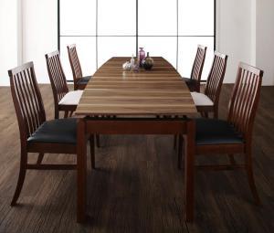 天然木ウォールナット材 ハイバックチェア ダイニング Austin オースティン 7点セット(テーブル+チェア6脚) W140-240