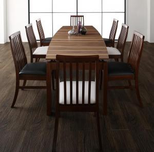 天然木ウォールナット材 ハイバックチェア ダイニング Austin オースティン 9点セット(テーブル+チェア8脚) W140-240