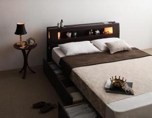 モダンライト・コンセント収納付きベッド Viola ヴィオラ スタンダードボンネルコイルマットレス付き ダブル