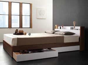 棚・コンセント付き収納ベッド sync.D シンク・ディ プレミアムボンネルコイルマットレス付き シングル