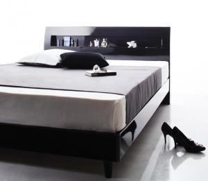 鏡面光沢仕上げ 棚・コンセント付きモダンデザインすのこベッド Degrace ディ・グレース スタンダードボンネルコイルマットレス付き セミダブル