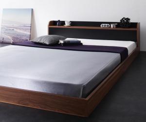 棚・コンセント付きバイカラーデザインフロアベッド DOUBLE-Wood ダブルウッド プレミアムポケットコイルマットレス付き ダブル