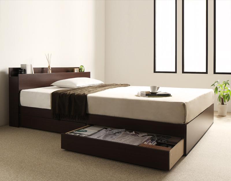 棚・コンセント付き収納ベッド virzell ヴィーゼル プレミアムボンネルコイルマットレス付き シングル