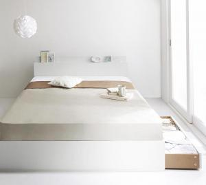 棚・コンセント付き収納ベッド ma chatte マシェット スタンダードポケットコイルマットレス付き ダブル【代引不可】