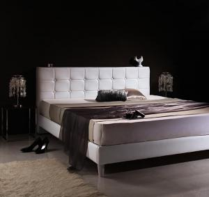 モダンデザイン・高級レザー・大型ベッド Strom シュトローム スタンダードポケットコイルマットレス付き ダブル