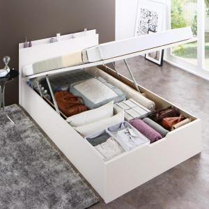 組立設置付 国産跳ね上げ収納ベッド Renati-WH レナーチ ホワイト 薄型スタンダードボンネルコイルマットレス付き 縦開き セミシングル 深さグランド