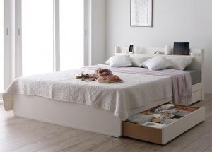 スリム棚・多コンセント付き・収納ベッド Splend スプレンド プレミアムポケットコイルマットレス付き シングル