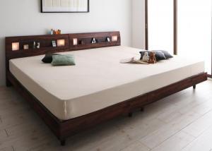 棚・コンセント・ライト付きデザインすのこベッド ALUTERIA アルテリア プレミアムポケットコイルマットレス付き ワイドK300【代引不可】
