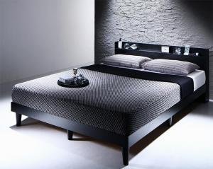 棚・コンセント付きデザインすのこベッド Morgent モーゲント プレミアムボンネルコイルマットレス付き ダブル【代引不可】