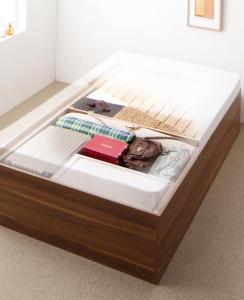 大容量収納庫付きベッド SaiyaStorage サイヤストレージ 薄型スタンダードボンネルコイルマットレス付き 深型 すのこ床板 セミダブル【代引不可】