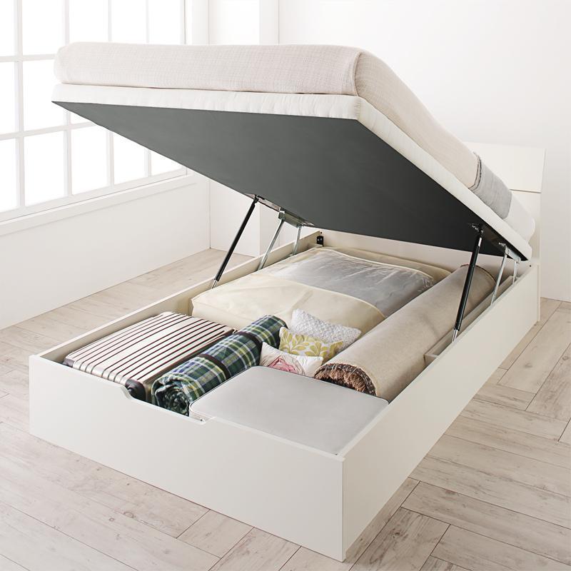 お客様組立 ホワイトデザイン大容量収納跳ね上げベッド WEISEL ヴァイゼル 薄型スタンダードポケットコイルマットレス付き 縦開き セミシングル 深さラージ【代引不可】