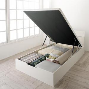 組立設置付 ホワイトデザイン大容量収納跳ね上げベッド WEISEL ヴァイゼル ベッドフレームのみ 縦開き セミシングル 深さレギュラー【代引不可】