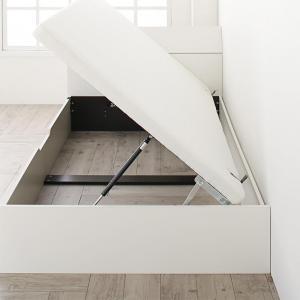 組立設置付 ホワイトデザイン大容量収納跳ね上げベッド WEISEL ヴァイゼル ベッドフレームのみ 横開き セミダブル 深さラージ【代引不可】